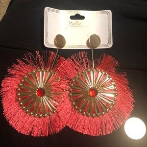 HUGE PINK AND GOLD STATEMENT FRINGE EARRINGS